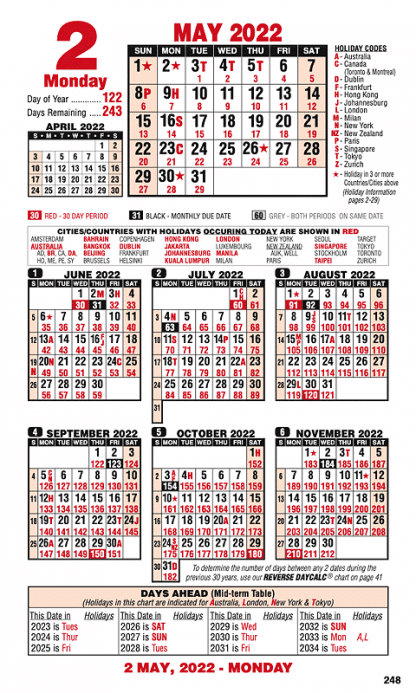 typical left page of 2022 calendar